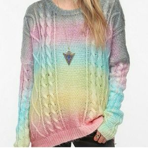 UNIF Rainbow Cake Cable Knit Sweater Oversized S
